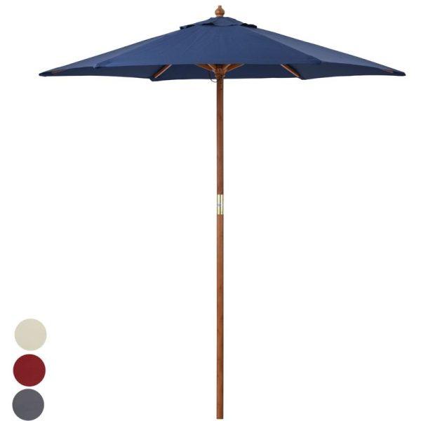 2m Wooden Garden Parasol - Navy Blue - Christow