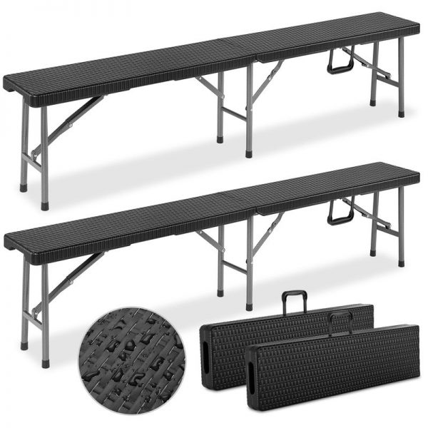 "2x Folding Garden Bench ""Malmö"" 180cm Carry Handles Poly Rattan Design Plastic Foldable Camping Black - Casaria"