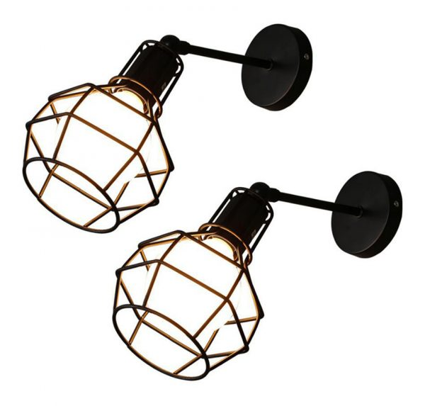 2x Industrial Wall Sconce Vintage Wall Light Metal Basket Adjustable Wall Lamp for House Bedroom Living Room Garage Bar Restaurants Coffee Shop Black