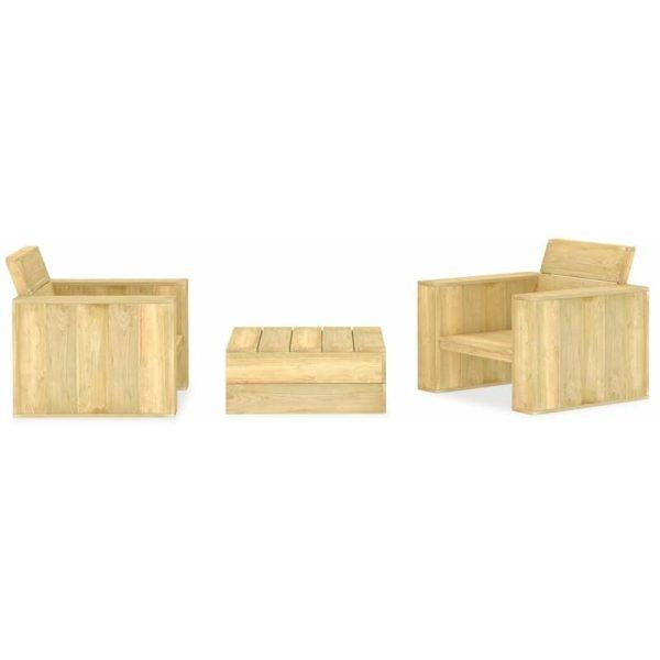 3 Piece Garden Lounge Set Impregnated Pinewood - Brown - Vidaxl