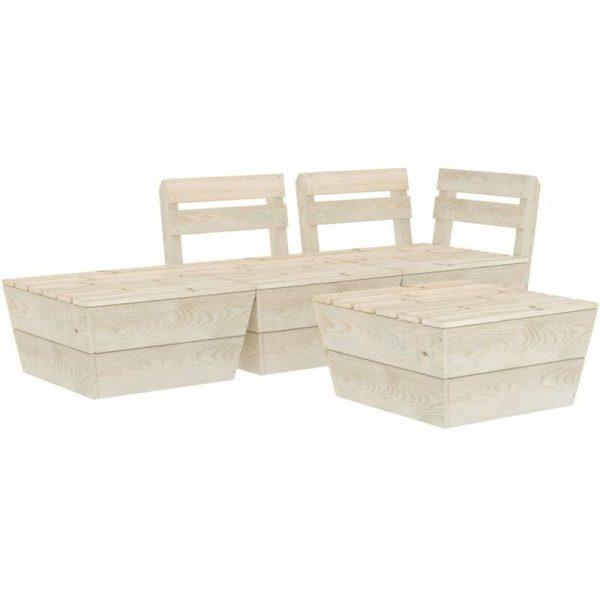 4 Piece Garden Pallet Lounge Set Impregnated Spruce Wood - Vidaxl