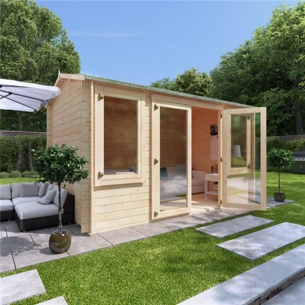 4 x 2.5 Log Cabin - BillyOh Dorset Log Cabin - 28mm Thickness Wooden Log Cabin - 4m x 2.5m Reverse Apex Cabin