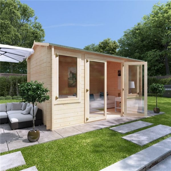 4 x 2.5 Log Cabin - BillyOh Dorset Log Cabin - 44mm Thickness Wooden Log Cabin - 4m x 2.5m Reverse Apex Cabin