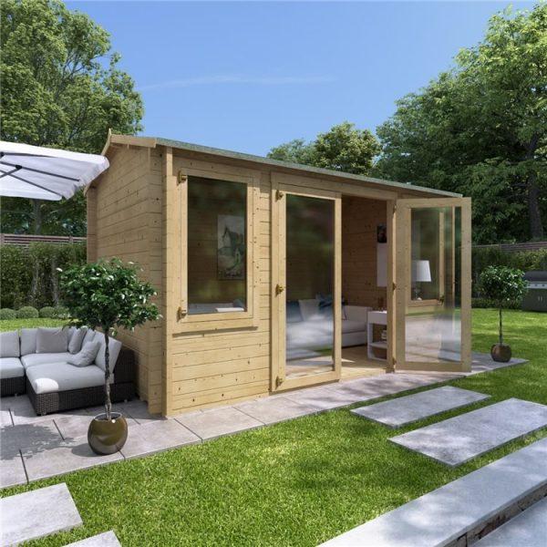 4 x 2.5 Pressure Treated Log Cabin - BillyOh Dorset Log Cabin - 44mm Thickness Wooden Log Cabin - 4m x 2.5m Reverse Apex Cabin