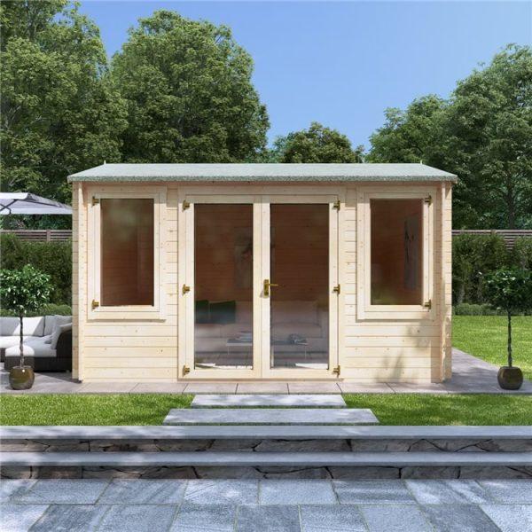 4 x 3 Log Cabin - BillyOh Dorset Log Cabin - 28mm Thickness Wooden Log Cabin - 4m x 3m Reverse Apex Cabin