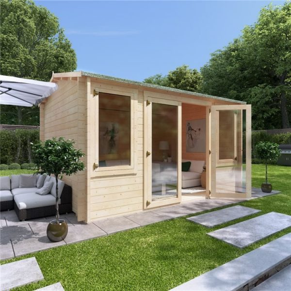 4 x 3 Log Cabin - BillyOh Dorset Log Cabin - 44mm Thickness Wooden Log Cabin - 4m x 3m Reverse Apex Cabin