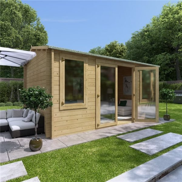 4.5 x 3 Pressure Treated Log Cabin - BillyOh Dorset Log Cabin - 44mm Thickness Wooden Log Cabin - 4.5m x 3m Reverse Apex Cabin