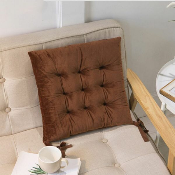 40 * 40 * 7cm Dining Chair Seat Cushion Ties Square Thick Booster Cushion Office Garden Kitchen (Cafe)