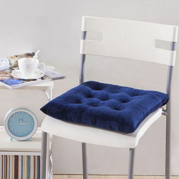 40 * 40 * 7cm Dining Chair Seat Cushion Ties Square Thick Booster Cushion Office Garden Kitchen (Dark Blue)