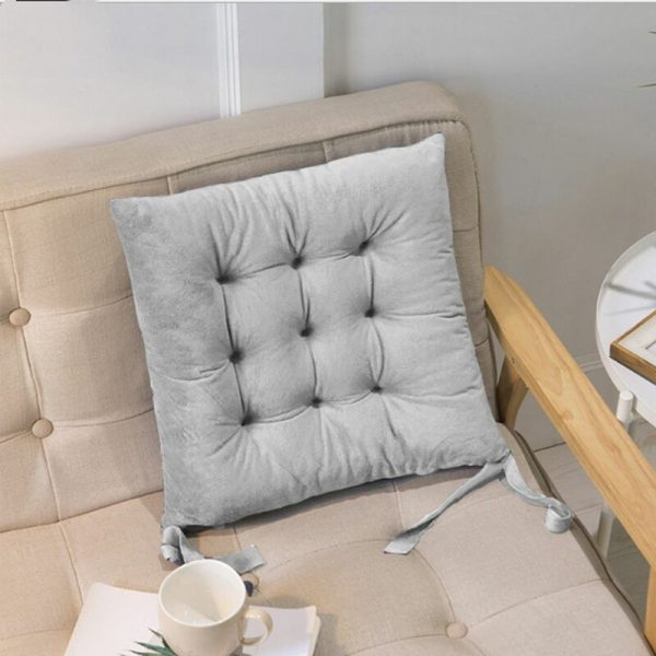 40 * 40 * 7cm Dining Chair Seat Cushion Ties Square Thick Booster Cushion Office Garden Kitchen (Light Gray)