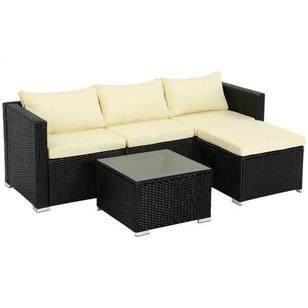 5-Piece Patio Furniture Set, PE Rattan Garden Furniture Set, Outdoor Corner Sofa Couch, Handwoven Rattan Patio Conversation Set, with Cushions and