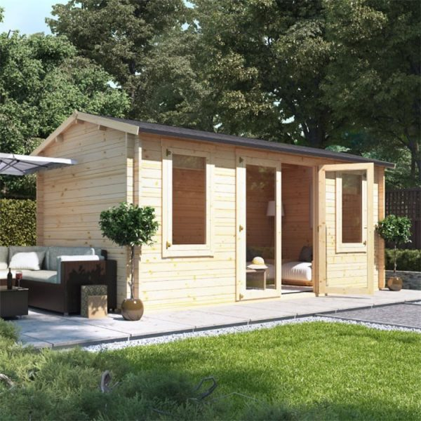 5 x 2.5 Pressure Treated Log Cabin - BillyOh Dorset Log Cabin - 44mm Thickness Wooden Log Cabin - 5m x 2.5m Reverse Apex Cabin