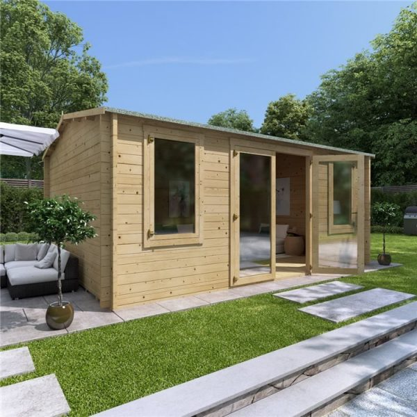 5 x 4 Pressure Treated Log Cabin - BillyOh Dorset Log Cabin - 44mm Thickness Wooden Log Cabin - 5m x 4m Reverse Apex Cabin