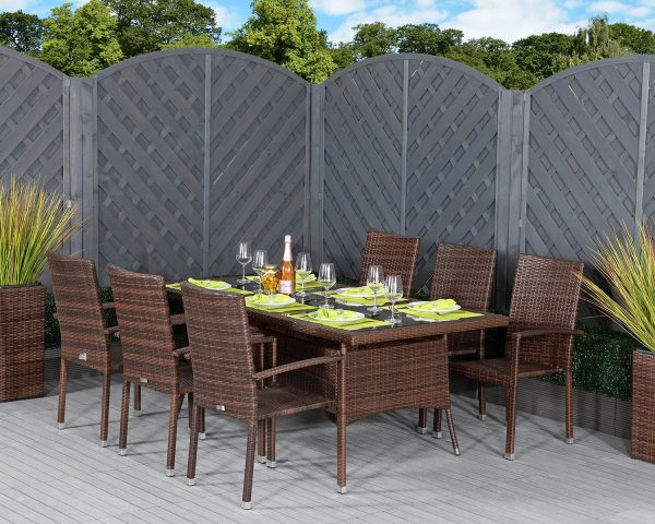 6 Seat Rattan Garden Dining Set With Large Rectangular Dining Table in Brown - Rio - Rattan Direct