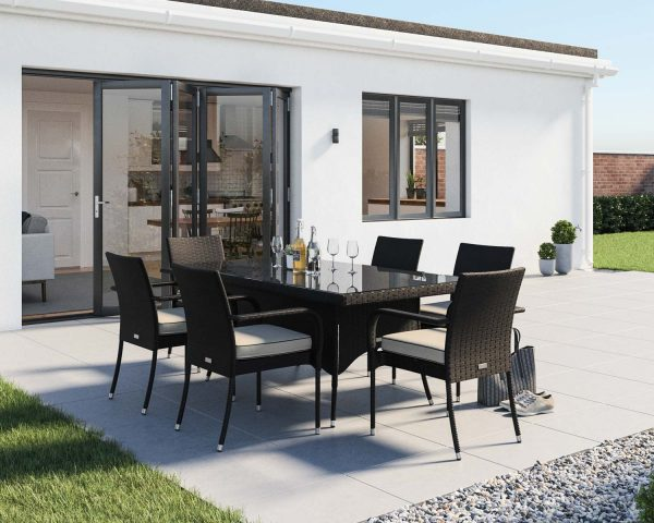 6 Seat Rattan Garden Dining Set With Rectangular Dining Table in Black & White - Roma - Rattan Direct