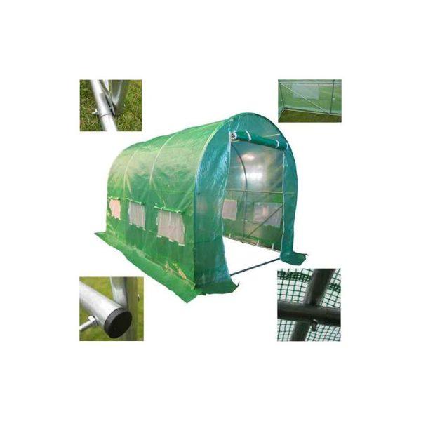 BIRCHTREE 3M (L) x 2M (W) x 2M (H) Polytunnel Greenhouse Pollytunnel Galvanised 25mm Frame