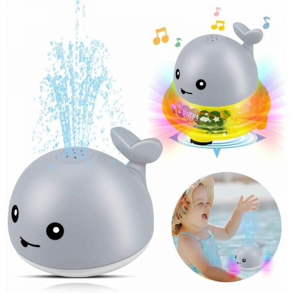 Bath Toys Electric Induction Sprinkler Water Sprayer Toy, Spray Ball Bath Toys with Flashing Light Musical Fountain Toy for Boys and Girls