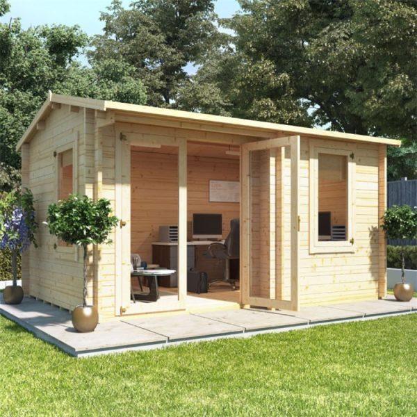 BillyOh Kent Garden Office Multi Room Log Cabin - PT-W4.0m x D3.0m - 44mm