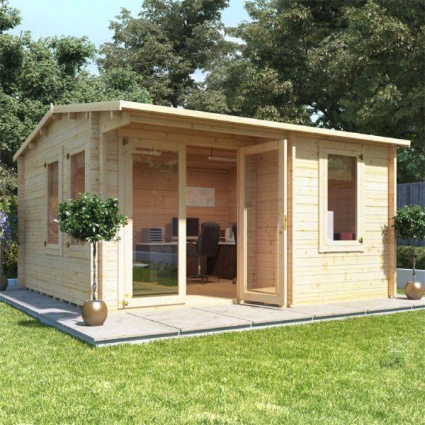 BillyOh Kent Garden Office Multi Room Log Cabin - PT-W4.0m x D4.0m - 44mm
