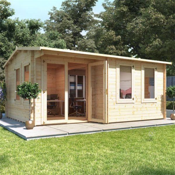 BillyOh Kent Garden Office Multi Room Log Cabin - PT-W5.0m x D4.0m - 28mm