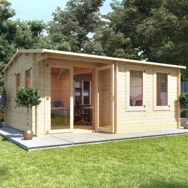 BillyOh Kent Garden Office Multi Room Log Cabin - PT-W5.0m x D4.0m - 44mm