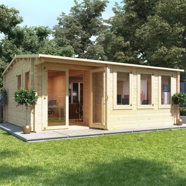 BillyOh Kent Garden Office Multi Room Log Cabin - PT-W5.5m x D5.0m - 44mm
