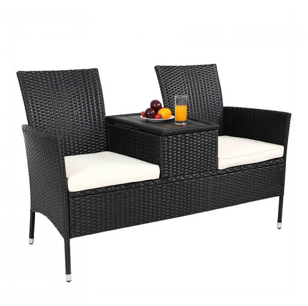 Casaria ® - Garden Bench Poly Rattan WPC Table Top Water-Repellent Cinema Bench Garden 2 Seater