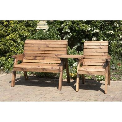 Charles Taylor 3 Seat Set Garden Bench - Green Cushions
