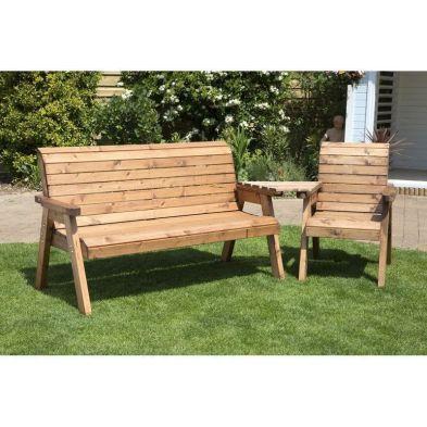 Charles Taylor 4 Seat Set Angled Garden Bench - Green Cushions