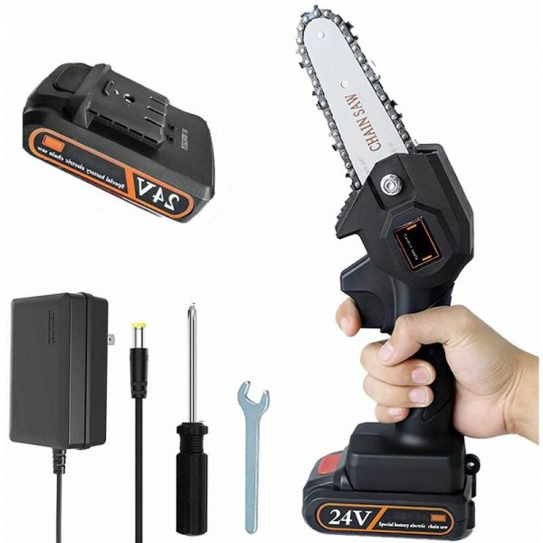 Cordless Electric Chainsaw, 10cm Mini Chainsaw, Small Household Portable Electric Saw, Rechargeable Battery Powered Chainsaw for Tree Branch Wood