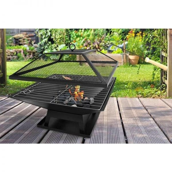 Fire Pit Bbq Grill Heater Outdoor Garden Square Firepit Brazier Patio Outside
