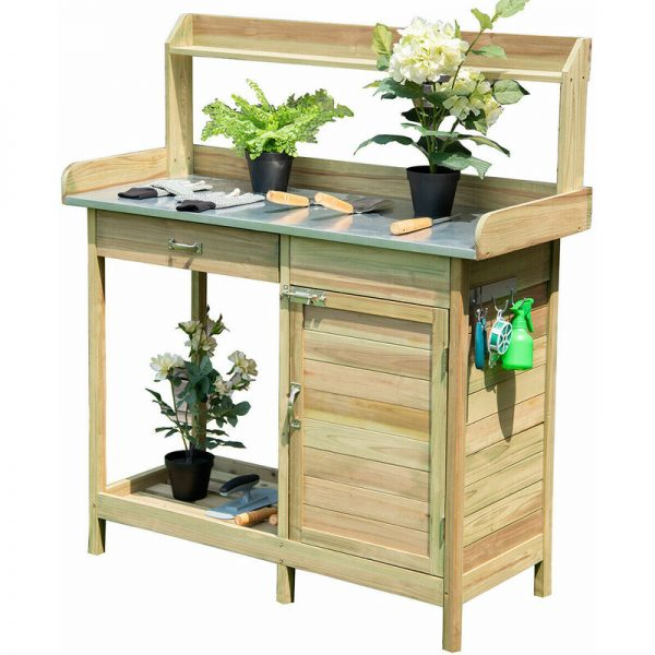 Garden Plant Bench Workstation Outdoor Potting Bench Table Wood Cabinet Drawer
