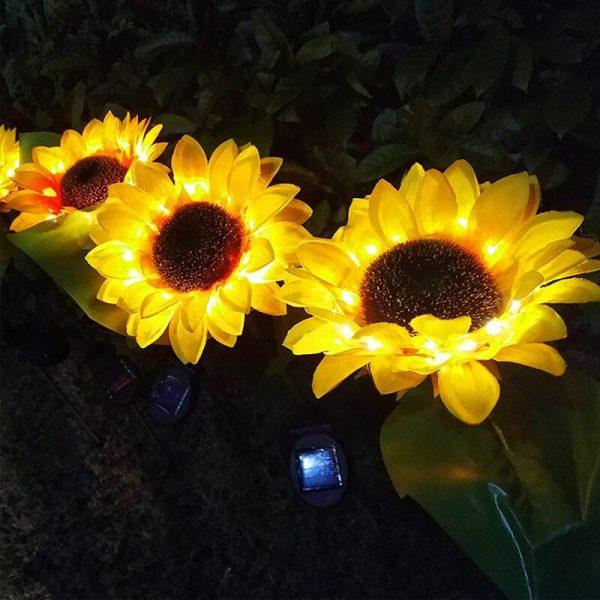 Garden Solar Lights, Outdoor Decorative Sunflower, Decor Solar Pathway Lights, Outdoor LED Solar Garden Lights, Waterproof Solar Landscape Lights, 2