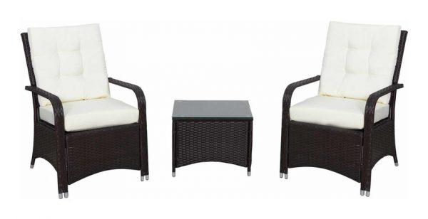 Outsunny 3 Pcs Rattan Chair & Table Set Patio Outdoor Seating w/ Cushions Brown
