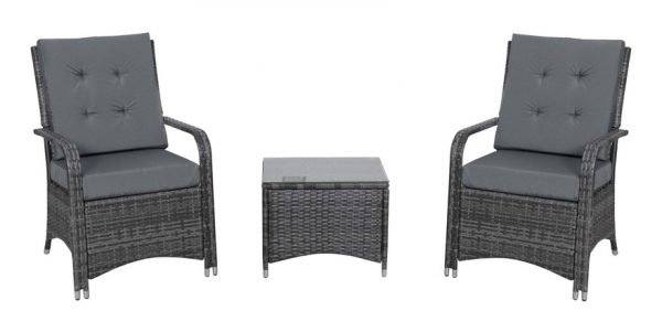 Outsunny 3 Pcs Rattan Chair & Table Set Patio Outdoor Seating w/ Cushions Grey