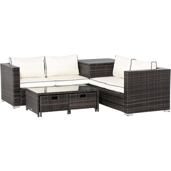 Outsunny 4 Pcs Patio Rattan Sofa Garden Furniture Set Table w/ Cushions Brown