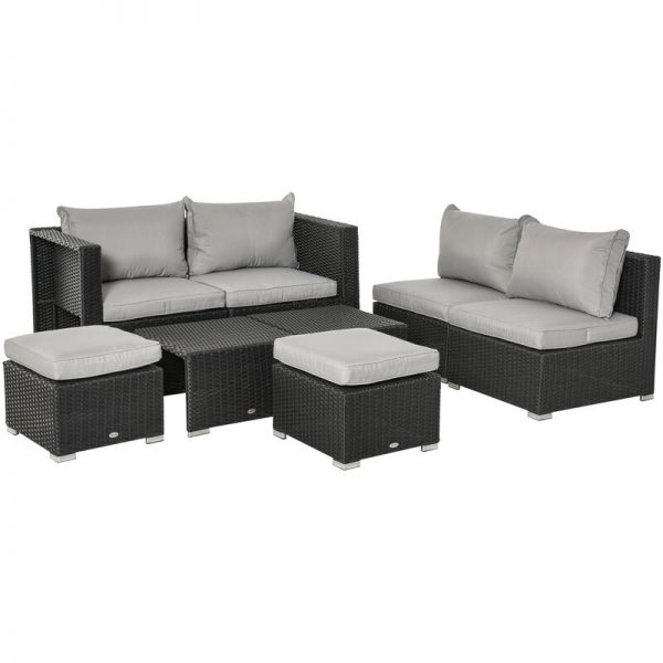 Outsunny 8 PCS Outdoor Patio Furniture Set PE Wicker Rattan Sofa Chair Black