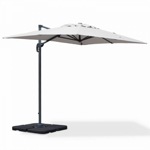 - PARASOL Rectangular 2 x 3 m - Biscarosse - Light Grey - Parasols Snap On Tilt and 360 ° Rotation. - Alice's Garden