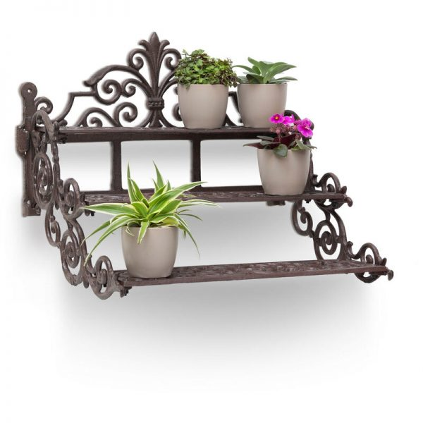 Relaxdays Rectangular Flower Steps Small Cast Iron Flower Bench for Flowers and Flower Pots, Strong Flower Stand Rack Holder, 3 Stairs Steps in