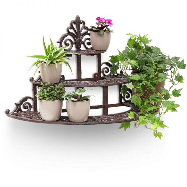 Relaxdays Round Flower Steps Small Cast Iron Flower Bench for Flowers and Flower Pots, Strong Flower Stand Rack Holder, 3 Stairs Steps in Rustic