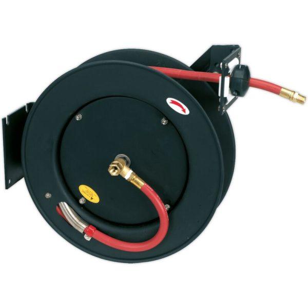 SA841 Retractable Air Hose Metal Reel 15m Ø10mm ID Rubber Hose - Sealey