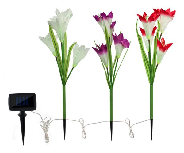 Solar lily light color gradient 3 bunches of 12 flowers 4LED plug lights garden lights garden lights lawn lights simulation flowers