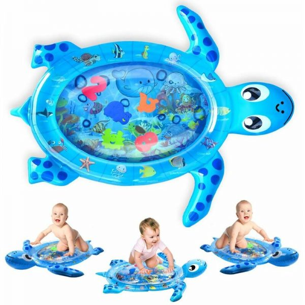 Turtle Pattern Inflatable Baby Play Mat Big Belly Time Mat Multicolor Leak Proof Sea Water Mat Early Infant Development Baby Toy