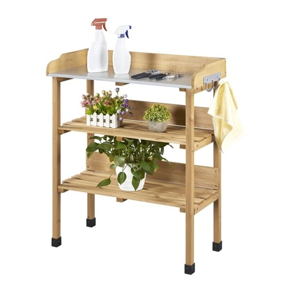 Yaheetech - Outdoor Potting Bench Table with Storage Shelf Fir Garden Wooden Potting Station with hook Work Station Gardening Tool