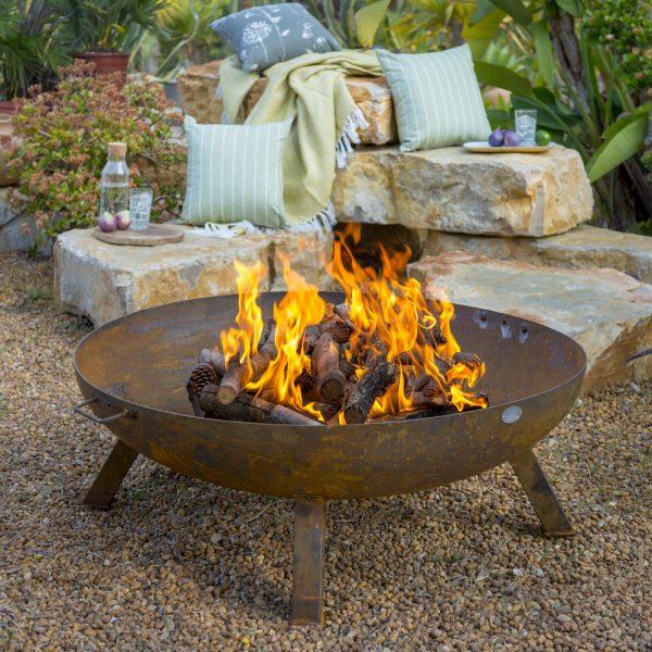 100cm Carbon Steel Rust Finish Large Fire Pit - by La Fiesta