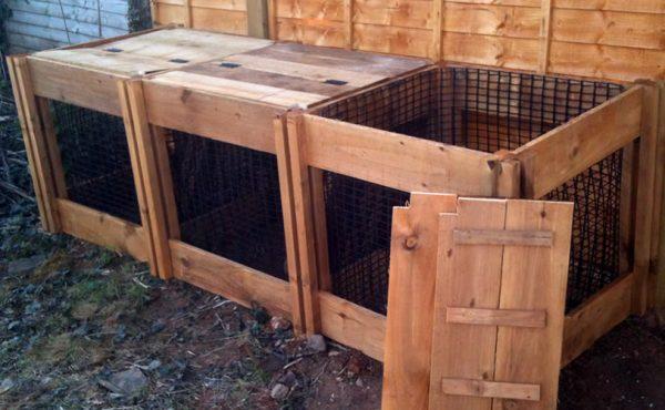 1150 Blackdown Range Triple Leaf Mould Wooden Composter with Lids
