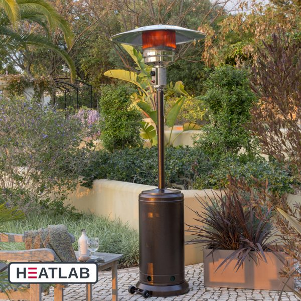 12kW Freestanding Powder Coated Steel Gas Patio Heater in Bronze by Heatlab®