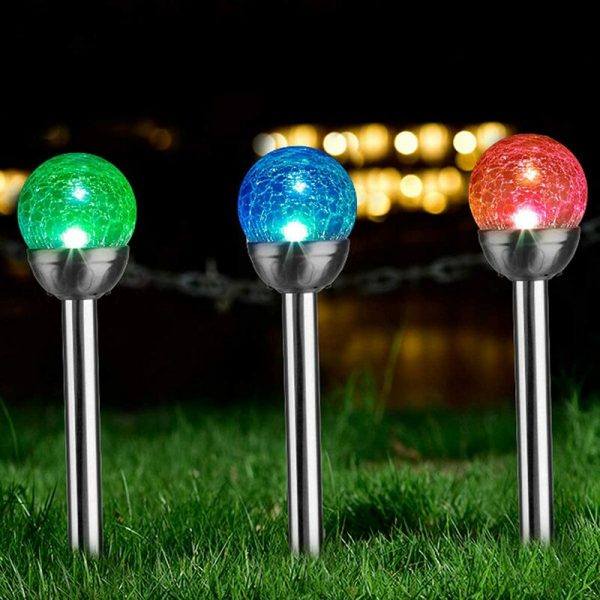 3 Pcs Solar Garden Lights Outdoor, Color Changing & White Two LEDs, Decorative Ball Solar Lights for Patio/Lawn/Yard/Path/Landscape (Crackled Glass).