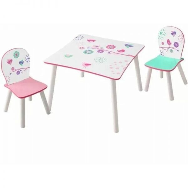 3 Piece Table and Chairs Set Birds - Multicolour - Worlds Apart