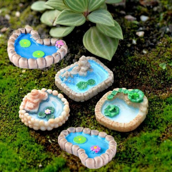 5 Pieces Fairy Garden Miniature Pond Ornaments Kit for Miniature Garden Accessories, Home Micro Landscape Decoration